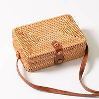 Модная женская сумка прямоугольная из ротанга плетеная пляжная. Сумочка Бали соломенная
