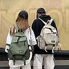 Рюкзак однотонный бежевый с ремешками., фото 2