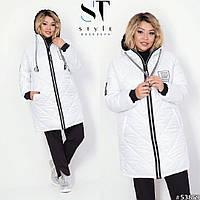 Женская зимняя куртка с капюшоном на синтепоне 48-50 52-54 56-58 60-62 64-66 сирень чёрная белая оливка синий