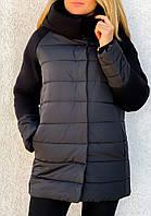 Женская теплая зимняя удобная куртка кашемир плащевка 42-44 46-48 50-52 серый черный