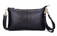 Кожаная женская сумка из натуральной кожи. Сумка клатч женская кожаная Esufeir (черная)