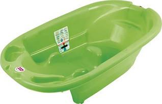 Ванночка Ok Baby Onda 823 Lime 44 анатомическая с горкой, термодатчиком и сливом