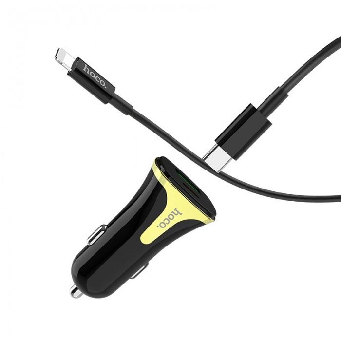Автомобильное зарядное устройство HOCO Z31A PD+QC3 3A 1 Usb + кабель Type-C/iPhone Black