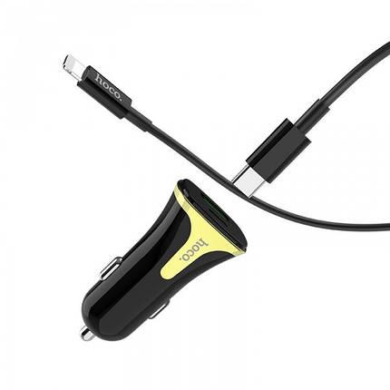 Автомобильное зарядное устройство HOCO Z31A PD+QC3 3A 1 Usb + кабель Type-C/iPhone Black, фото 2