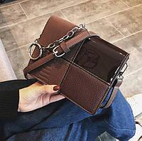 Модная маленькая женская сумка. Сумка клатч женская прямоугольная (коричневая)