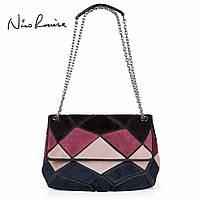 Кожаная женская сумка из натуральной кожи. Сумка клатч женская замшевая Nico Louise (черная)