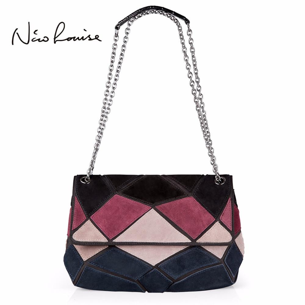 Кожаная женская сумка из натуральной кожи. Сумка клатч женская замшевая Nico Louise (черная) - фото 1