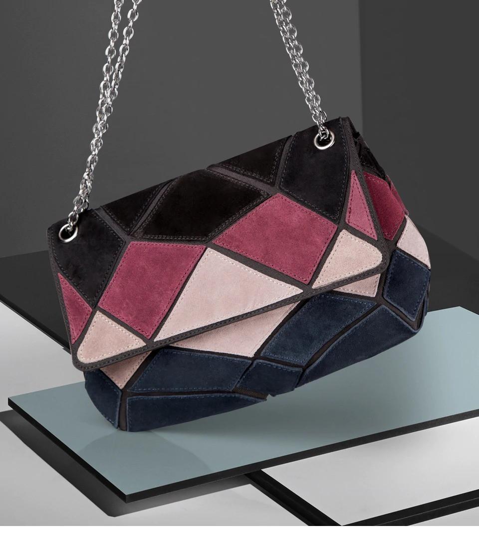 Кожаная женская сумка из натуральной кожи. Сумка клатч женская замшевая Nico Louise (черная) - фото 2