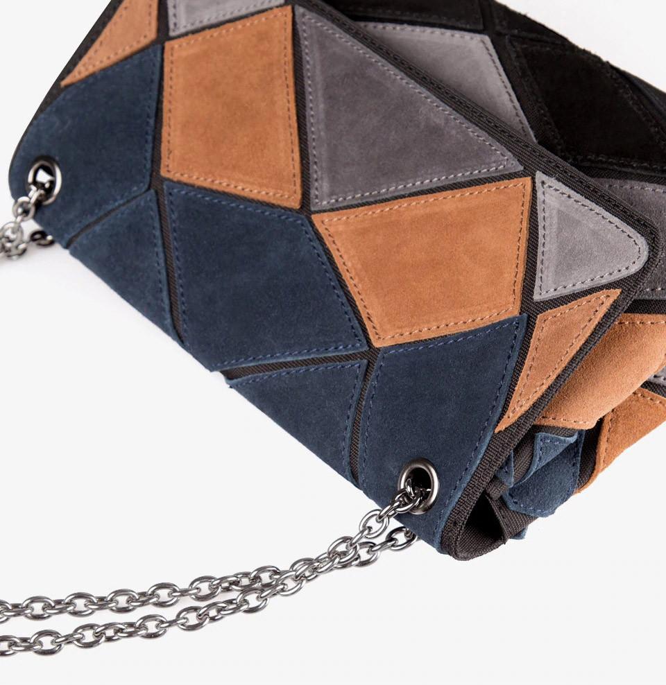 Кожаная женская сумка из натуральной кожи. Сумка клатч женская замшевая Nico Louise (черная) - фото 5