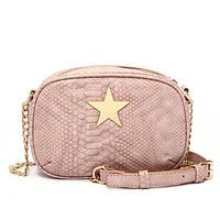 Модная маленькая женская сумка. Сумка клатч женская в стиле Stella McCartney Stella Star со звездой (розовая)