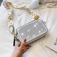Модная женская сумка. Клатч женский в стиле Marc Jacobs с камушками (белый)