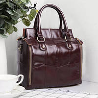 Кожаная женская сумка из натуральной кожи. Сумка женская органайзер кожаная деловая стильная (коричневая)