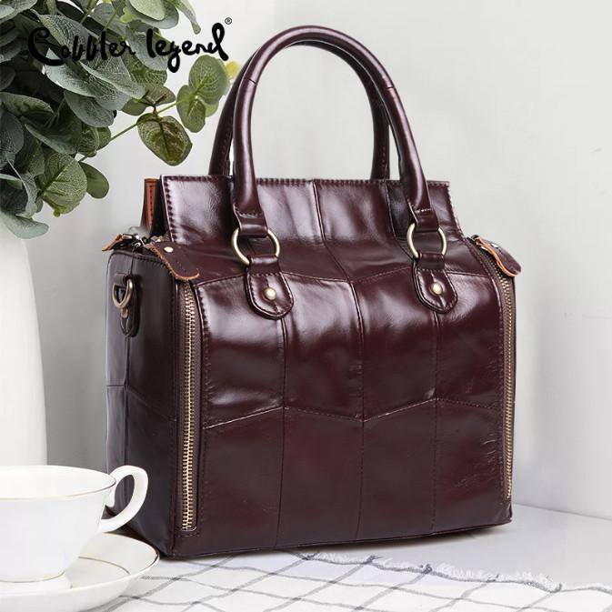 Кожаная женская сумка из натуральной кожи. Сумка женская органайзер кожаная деловая стильная (коричневая) - фото 1