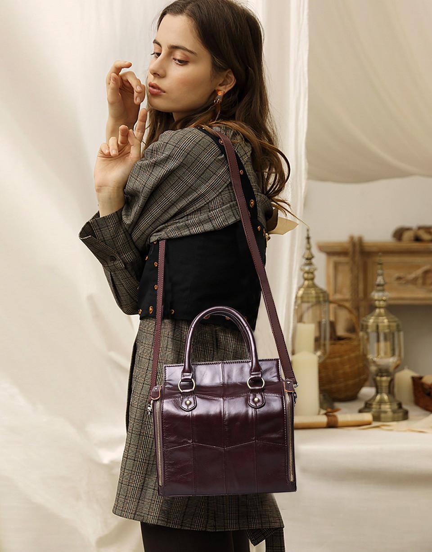 Кожаная женская сумка из натуральной кожи. Сумка женская органайзер кожаная деловая стильная (коричневая) - фото 2