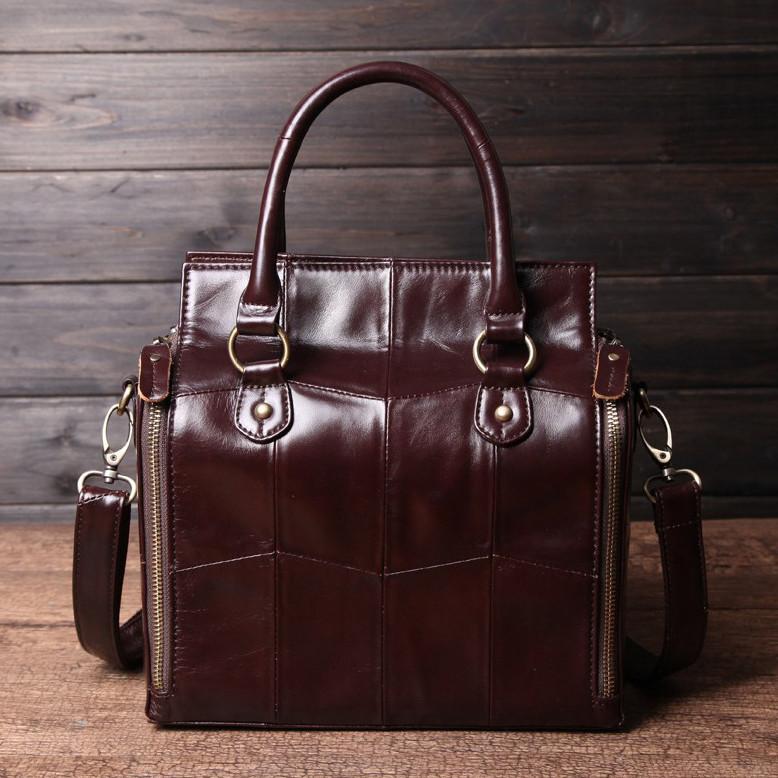 Кожаная женская сумка из натуральной кожи. Сумка женская органайзер кожаная деловая стильная (коричневая) - фото 3