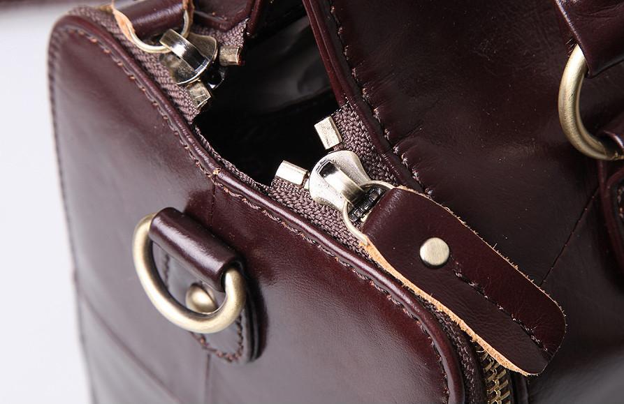 Кожаная женская сумка из натуральной кожи. Сумка женская органайзер кожаная деловая стильная (коричневая) - фото 6