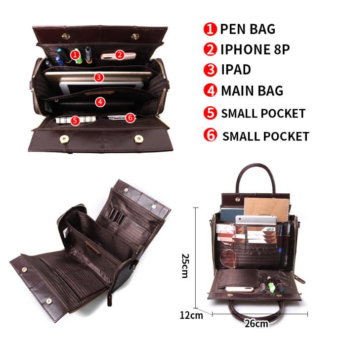 Кожаная женская сумка из натуральной кожи. Сумка женская органайзер кожаная деловая стильная (коричневая) - фото 9