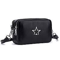 Кожаная женская сумка из натуральной кожи со звездой. Сумка клатч женский (черная)