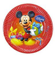 """Тарелки детские, праздничные """"Микки Маус"""" ( красные) одноразовая посуда"""