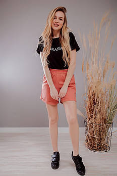 Летние шорты женские короткие из натурального льна с завышенной талией на резинке (Норма)