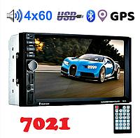Автомагнітола 7021G діагональ екрану 7 дюймів 2DIN c GPS SD AUX Bluetooth 4 х 60W Чорний