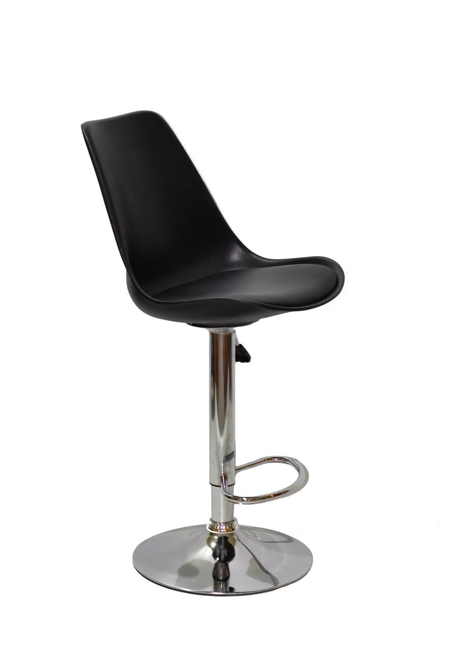 Барный стул Альберт ALBERT черный пластик + экокожа на хром базе с подножкой