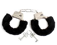 Наручники для взрослых игр с черным мехом и ключами