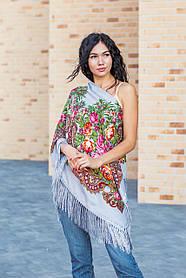 Красивый женский цветочный платок с бахромой на плечи и на голову LEONORA серого цвета