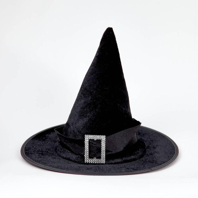 Колпак Ведьмы с серебряной пряжкой детский черный