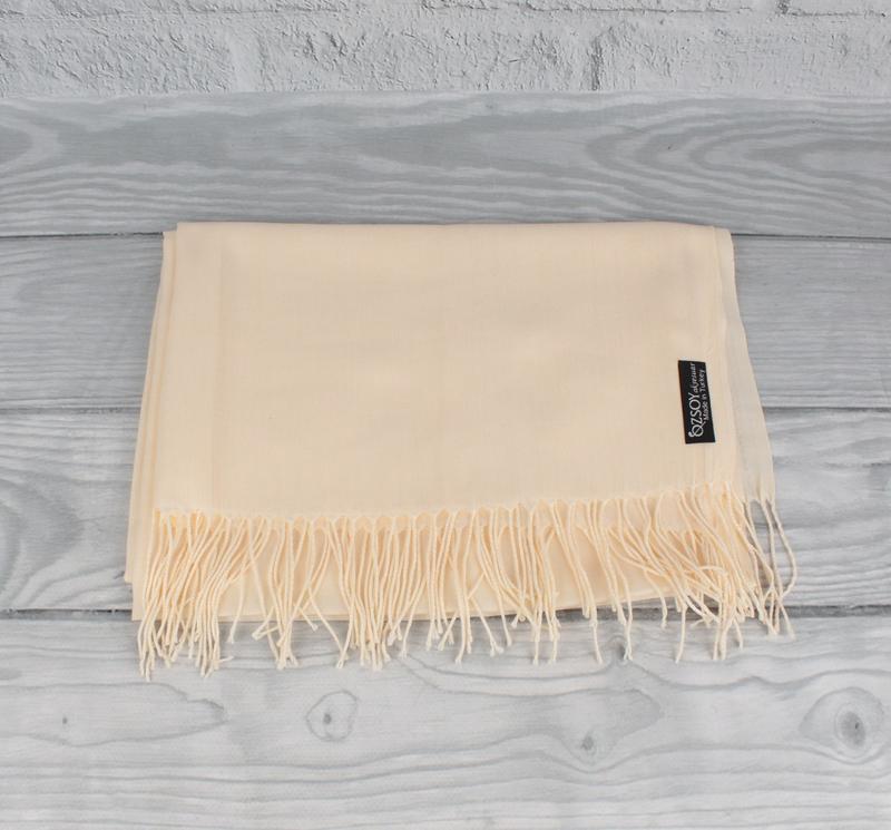 Кашемировый шарф, палантин кремовый Ozsoy 7180-28