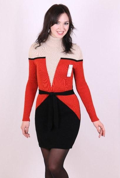 Женское платье машинная вязка - Корсет