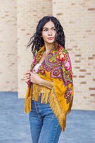 Женский красивый большой платок на голову и плечи LEONORA горчичного цвета с бахромой