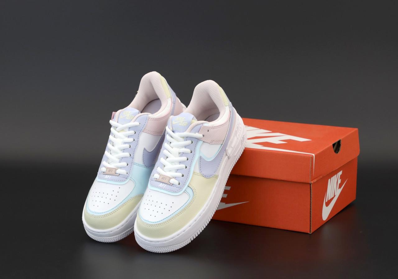 Женские кроссовки Nike Air Force pink beige . ТОП Реплика ААА класса.