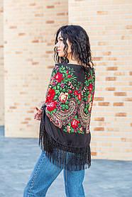 Платок женский красивый большой с народным орнаментом LEONORA черного цвета с бахромой