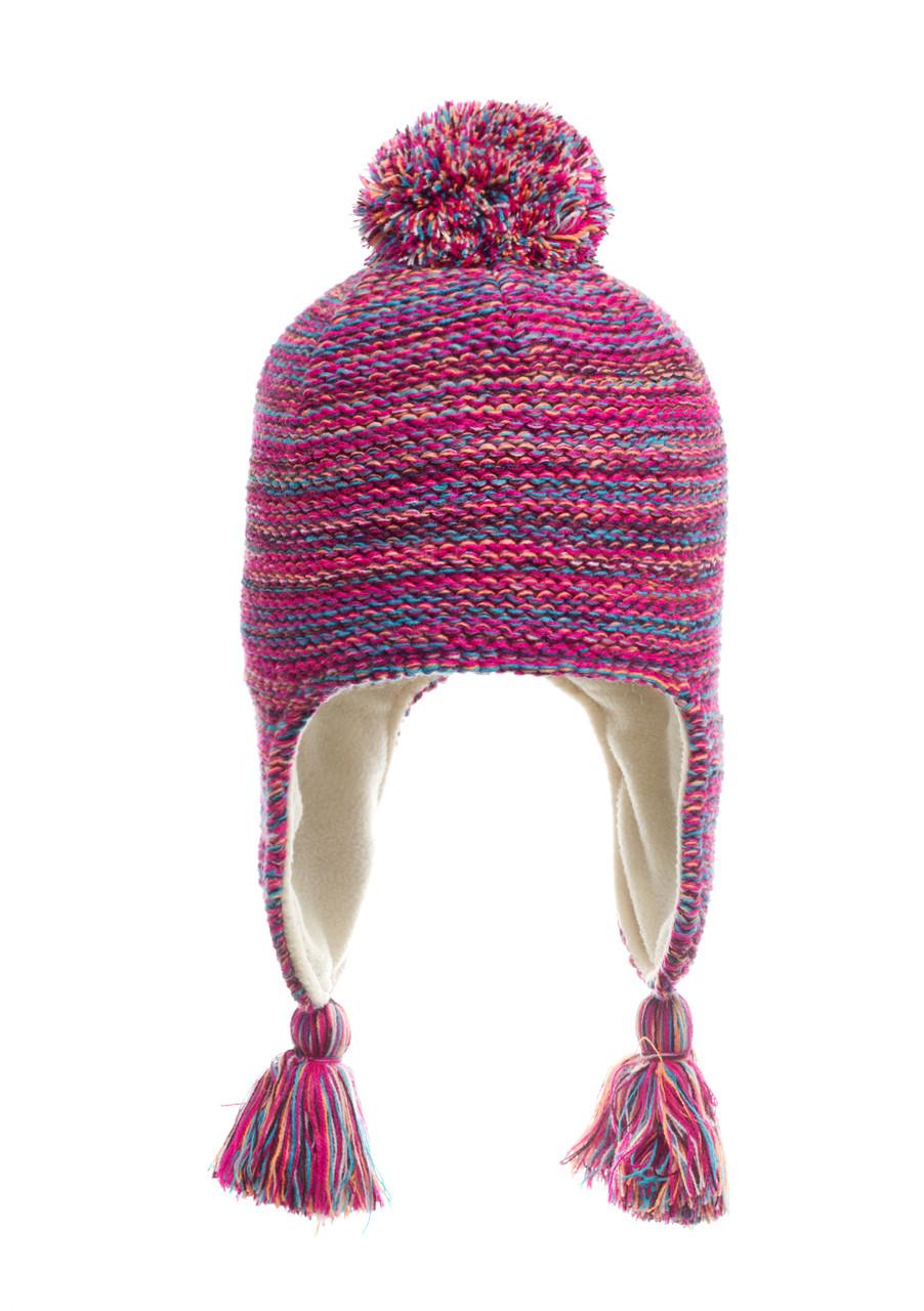 Подростковая вязанная шапочка с бумбоном на флисе, Польша.