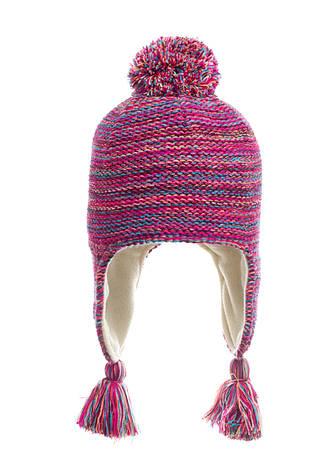 Подростковая вязанная шапочка с бумбоном на флисе, Польша., фото 2