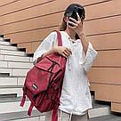Рюкзак молодежный бордовый с ремешками., фото 3