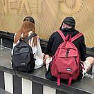 Рюкзак молодежный бордовый с ремешками., фото 5