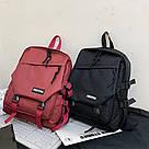 Рюкзак молодежный бордовый с ремешками., фото 2