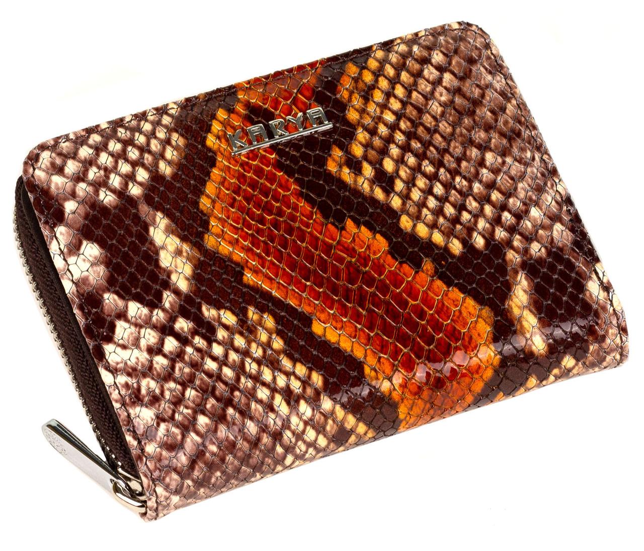 """Жіночий гаманець Karya 1152-530 шкіряний коричневий """"під рептилію"""""""