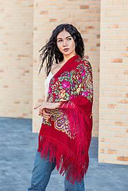 Платок женский большой красивый с народным орнаментом  и с бахромой LEONORA красного цвета