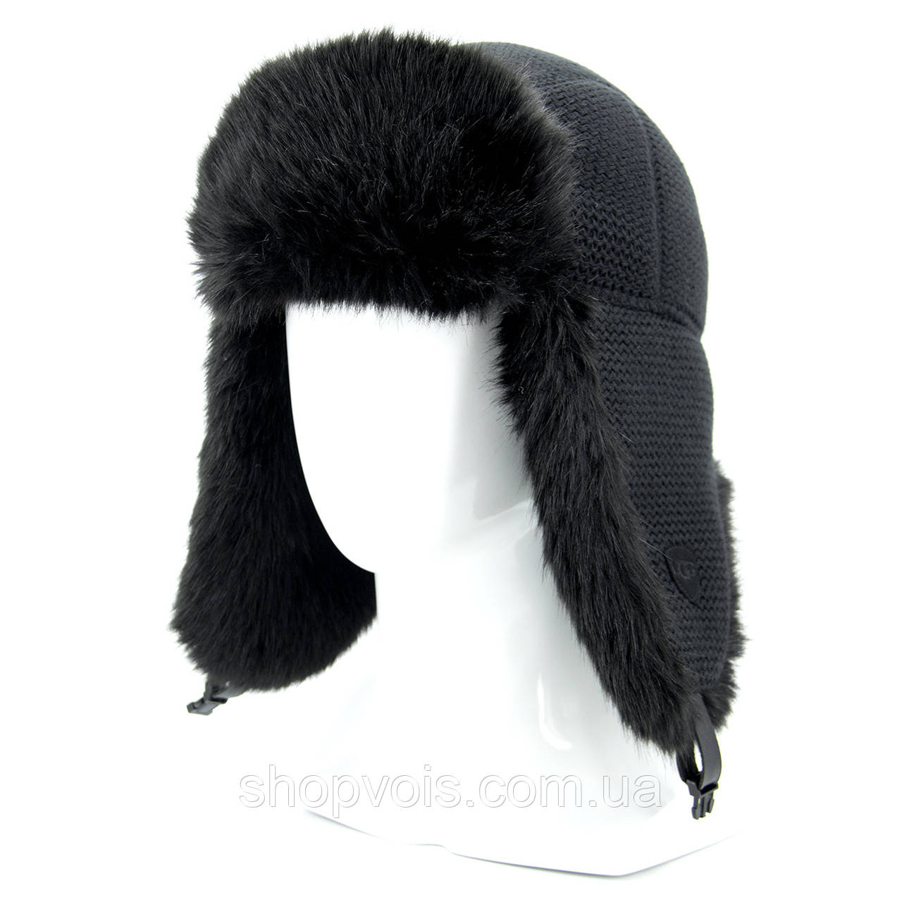 Зимняя мужская шапка ушанка. Черный SU14