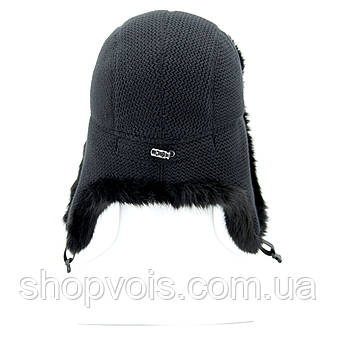Зимняя мужская шапка ушанка. Черный SU14, фото 2
