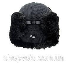 Зимняя мужская шапка ушанка. Черный SU14, фото 3