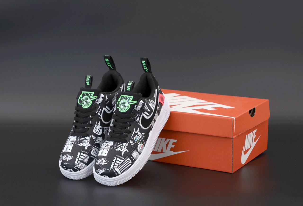 Женские кроссовки Nike Air Force черные. ТОП Реплика ААА класса.