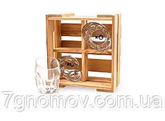 Мини-набор 4 пьяных кривых стаканов роксов в деревянном ящике арт. DG 012.00077