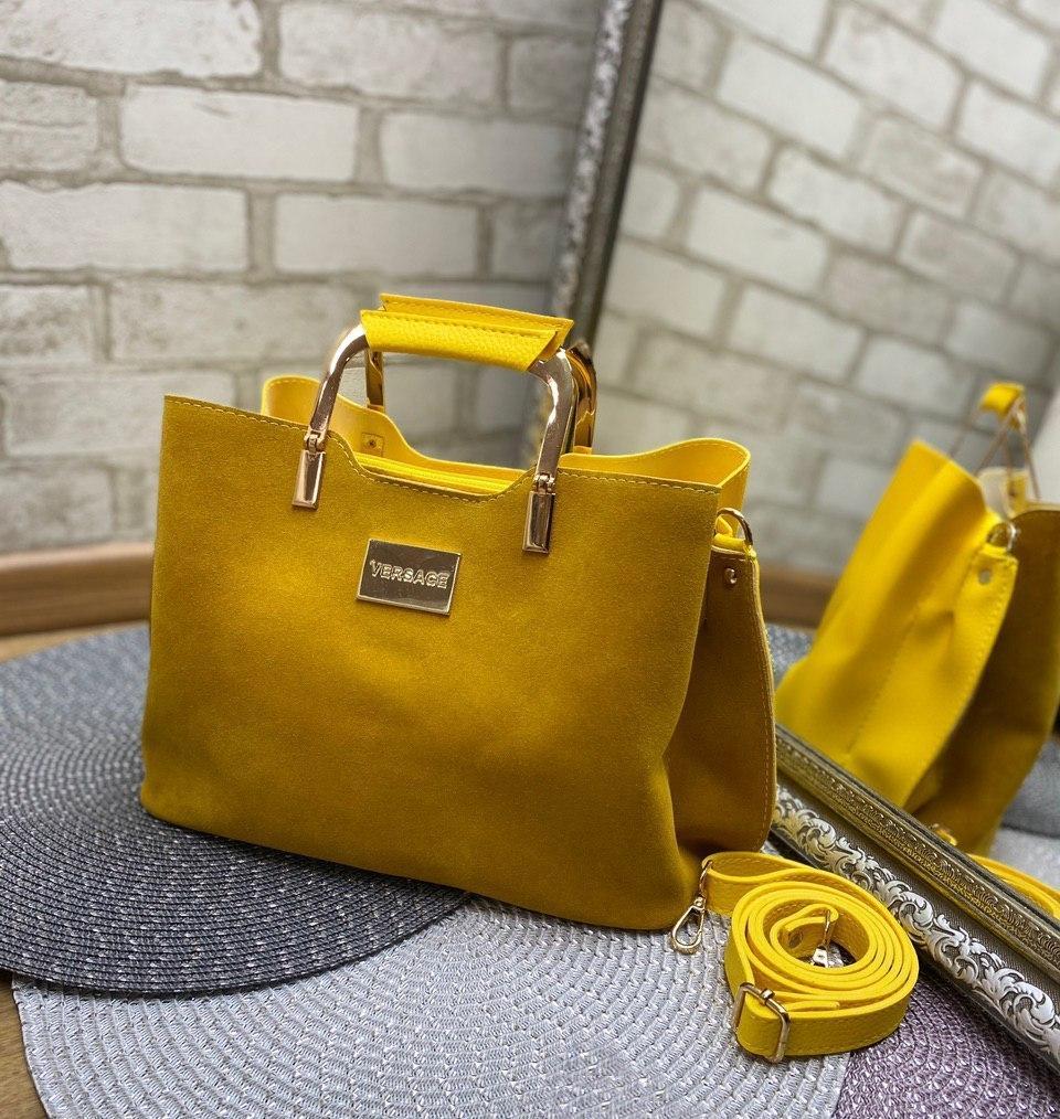 Замшевая женская сумка модная яркая с квадратными ручками небольшая шоппер желтая замша+кожзам