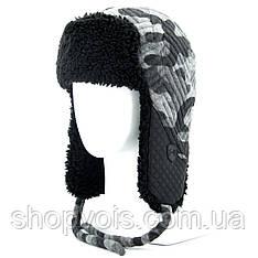 Зимняя мужская шапка ушанка. Черный SU25