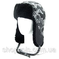 Зимняя мужская шапка ушанка. Черный SU26