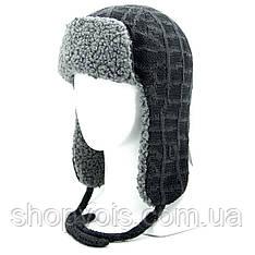 Зимняя мужская шапка ушанка. Черный SU30